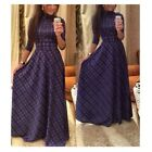 Fashion Women Chic Plaid Maxi Sleeves Long Dresses Maxi Party Evening Dress - CB