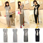 Womens Summer Long Maxi Dress Sweet Kitten Print Cotton Casual Dress LA CA 02