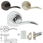 1 x Pair of Sywell Sprung Lever Internal Rose Door Handles & Mortice Latch