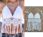Sexy Tassel Handmade Swimwear Crochet Beach Swimsuit Cover Up Knitted Bikini Top