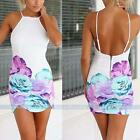 Women's Sexy Floral Backless Adjustable Strap Evening Party Cocktail Mini Dress