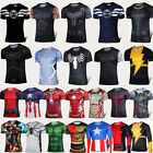 Marvel Superhero Mens T-Shirts Compression Base Layer Sports Tops Cycling Jersey