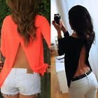 New Women Ladies Long Sleeve Shirt Sexy Cross Backless Loose Chiffon Tops Blouse