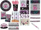 SWEET 16 16TH SIXTEEN BIRTHDAY GIRLS PARTY DECORATIONS TABLEWARE ITEMS PINK NEW