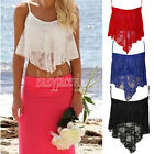 Ladies Summer Beach  Sexy Casual Sleeveless Lace Top  Sun-top  4  Colors Choose