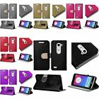 For LG Leon C40 Shiny PU Leather Bling Flip Wallet Credit Card Cover Case