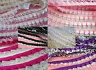 10 yards Satin White Floral Ruffle 2 Layers Lace Trim/Sewing/Craft T79-Color