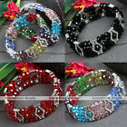 1PC 3Rows Crystal Glass Rhinestone Spacer Faceted Bead Stretchy Bracelet