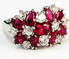 Lady/Women's White 925 Silver Filled Red Ruby Wedding Ring Gift size 6-10