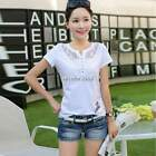 Women Butterfly Printed Cotton Lace Short Sleeve T-shirt Tee Tops Plus Size N4U8