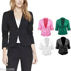 Womens Summer Jacket Fitted Outerwear Short Cardigans Lady Suit Blazer Size 14-6