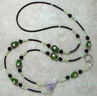 Green Frogs Black Beaded Lanyard ID Badge Holder