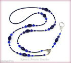 Navy Blue Elegant Czech Glass Beaded Lanyard ID Badge Holder