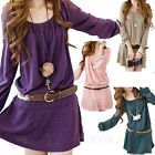 Womens Long Sleeve Dresses Ladies Belted Party T shirt Winter Tunic Dress Size 8