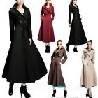Ladies Dresses Womens Coats Floor Length Trench Coat Belted Jacket Size 14-6