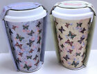 Chic Shabby Insulated Double Walled Travel Mug Ceramic Vintage Butterfly Floral