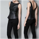 Brand New Womens Boutique Fashion Back Faux Leather Dress Tops USTB