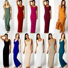 Chic Women Solid casual Sleeveless Crew Neck Modal Cotton Maxi Long Dress S M L