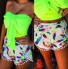 Womens Printing Tassel Elastic waist Summer Beach Casual Shorts Hot Mini Pants