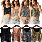 Sexy Womens Sequined Vest Cocktail Party Celeb Bodycon Short Crop Tops Clubwear