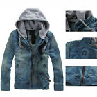Casual Men's VINTAGE CLASSIC Denim Hoodie Jean Jacket Zipper Coat Detachable Cap