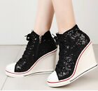 womens fashion high top wedge sneakers Squeiuns zip up trainer white Black size