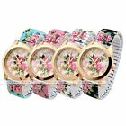 Floral Vintage Women Elastic Gold Case Strap Quartz Analog Wrist Watch Bracelet