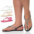 WOMENS LADIES DIAMANTE T-BAR FLAT STRAPPY JELLY RUBBER BUCKLE SANDALS SIZE