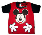 MICKEY MOUSE red short sleeve cotton summer t-shirt S-XL Age 3-8 yrs Free Ship