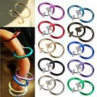 2pcs Fake Clip On Spring Nose Hoop Ring Ear Septum Lip Eyebrow Earring Piercing