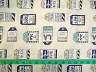 GLOBE TROTTER - TRAVEL TAGS ON CREAM 100% cotton patchwork fabric