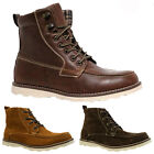 MENS LOW HEEL MILITARY BIKER LACE UP ARMY COMBAT ANKLE WINTER BOOTS SHOES SIZE