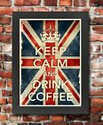 KCV11 Framed Vintage Style Union Jack Keep Calm Drink Coffee Funny Poster A3/A4