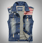 Mens Collar Blue Denim Vest Jean Jacket Fitted Sleeveless Trucker Vest sz M-3XL
