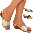 Ladies Womens Wedges Low Heel Flip Flops Mules Casual Slip on Sandals Shoes Size