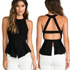 Sexy Womens Lady Backless Halter Shirt Peplum Sleeveless Slim Ruffle Blouse Tops
