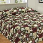 CABIN PATCHWORK QUILTED BEDSPREAD BEAR MOOSE TREE QUEEN FULL CAMPING MAN CAVE