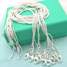 XMAS wholesale sterling solid silver 10pcs 1mm snake chain necklace 16-30inch