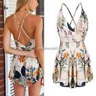 Womens Floral Playsuit Party Clubwear Sexy V NECK Jumpsuit Romper Dress Shorts