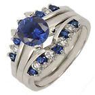 3 pcs Silver 925 2.0CT Round Blue Sapphire CZ Women Engagement Ring Set SZ 5-10