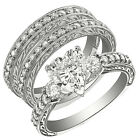 3 pieces 2.8CT Sterling Silver 925 Heart CZ 3 Stones Set Ring Sz 5-10