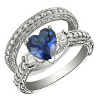 2.6CT Sterling Silver 925 Heart Blue Sapphire CZ 3 Stones Set Ring Sz 5-10