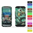 For HTC One M8 / W8 Blue Camo Hybrid Rugged Armor Protective Phone Case Cover