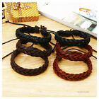 Hot Fashion Men Women Leather Braided Wristband Handmade Plaited Surfer Bracelet