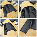 1x Cool Womens Coat Faux Leather Short Casual Motocycle Outwear Jacket Black WFR