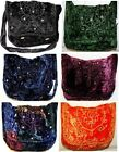 GREEN BLACK BLUE ORANGE BURGUNDY VELVET MIRROR HIPPY HANDBAG SHOULDER BAG GOTH