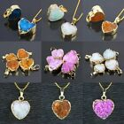 Druzy Quartz Crystal Quartz Geode Gemstone Stone Heart Gold Plated Beads Pendant