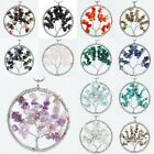 Gemstone Crystal Quartz Stone Healing Reiki Wire Wrap Tree of Life Round Pendant