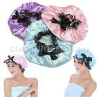 Lace Bow Lady Waterproof Elastic Band Hat Hair Bath Shower Ribbon Bouffant Caps