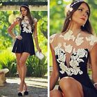 Women Lady Short Sleeve BodyCon Lace Sexy Party Cocktail Prom Dress Ornate